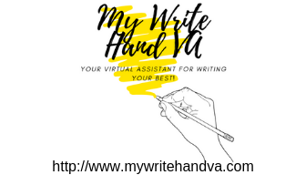 "website logo image with My Write Hand VA written in bold black lettering with a yellow scribbled background.  Below it is the words ""Your Virtual Assistant for Writing Your Best!"". Below that is an image of a right hand with a pencil poised as if it just finished writing all of the above. Website URL http://www.mywritehandva dot com is listed at the bottom"